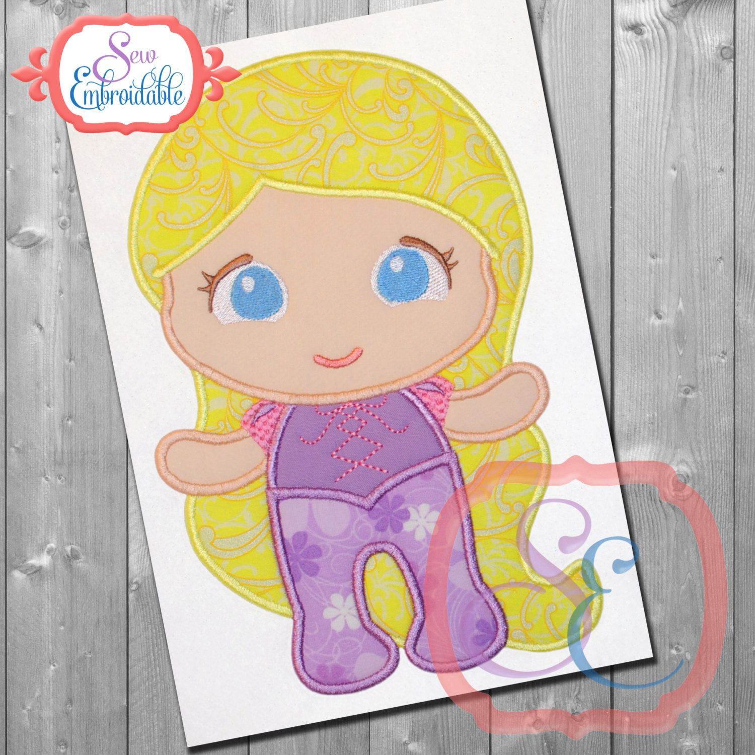 BABY Princess 7 Applique Design For Machine Embroidery by