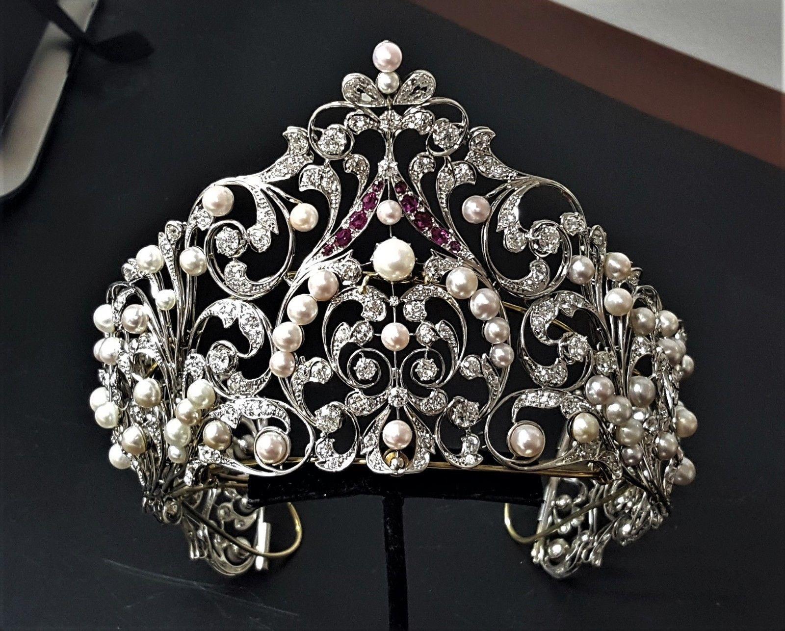 8.70ct Natural Round Diamond Ruby 14k Solid White Gold Wedding Anniversary Tiara Bridal & Wedding Party Jewelry Jewelry & Watches