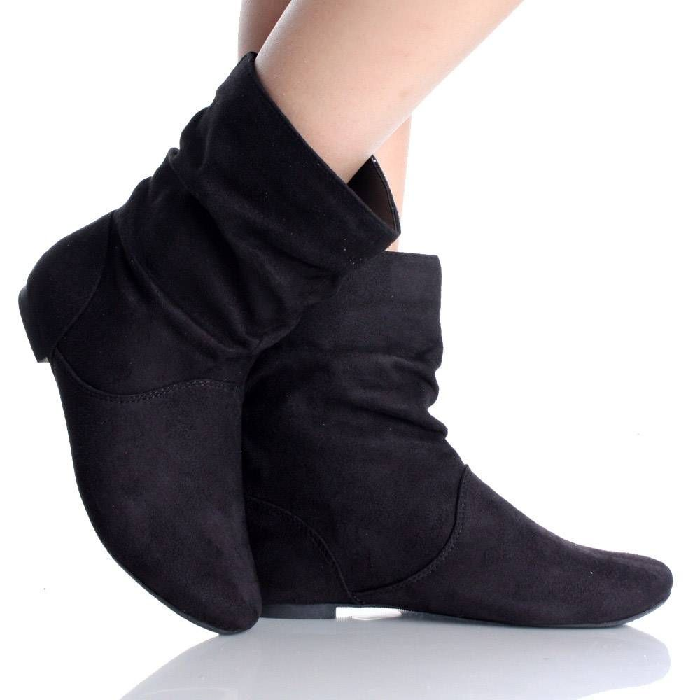 Black Flat Ankle Boots Winter Slouch Scrunch Faux Suede Womens ...
