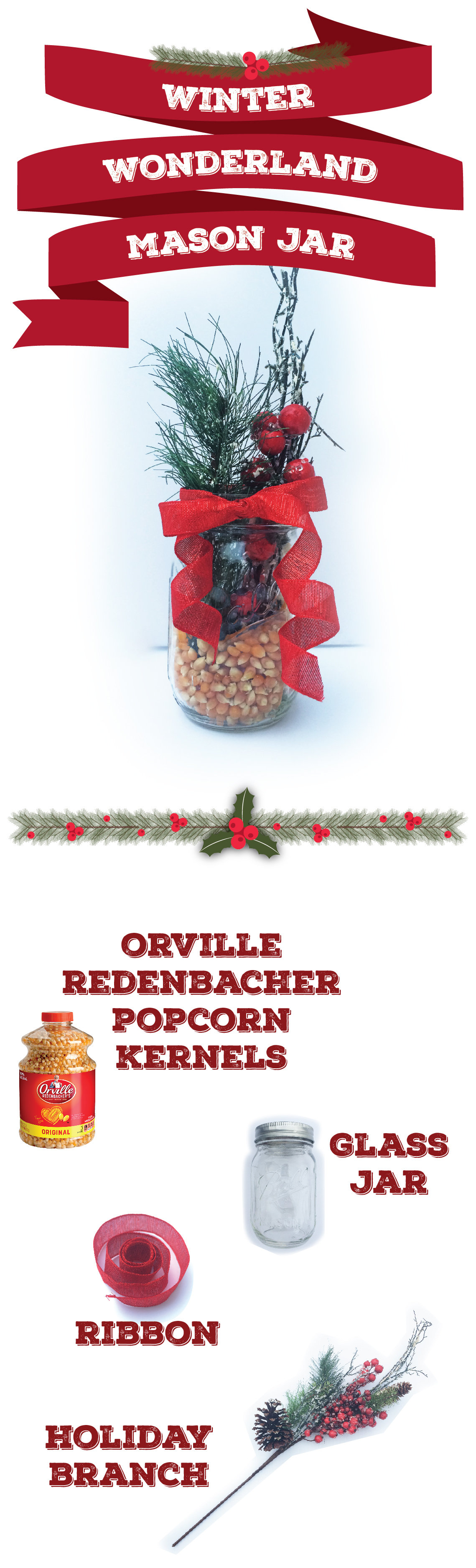 6 holiday decorations that really pop | easy DIY popcorn decorations | can't go wrong with ribbon, candles & mason jars!