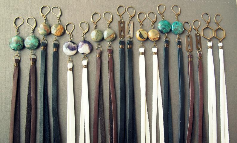 Tassels Boho Chic Earrings Natural Turquoise Tassel Statment Earrings Leather Tassel Earrings Statement Earrings Blue Leather Earrings