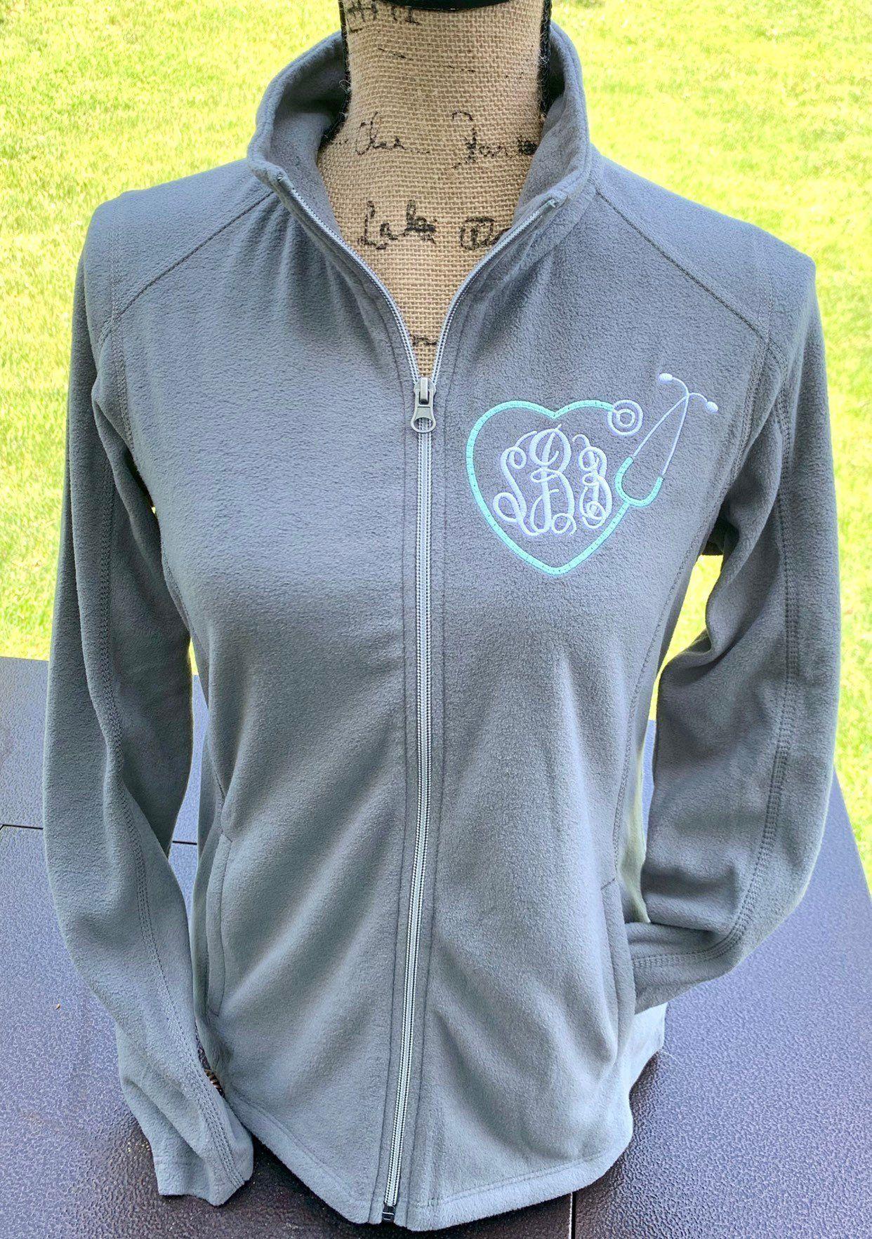 516f7569 Nurse jacket, nurse graduation gift, fleece full zip, gift for nurse,  monogrammed
