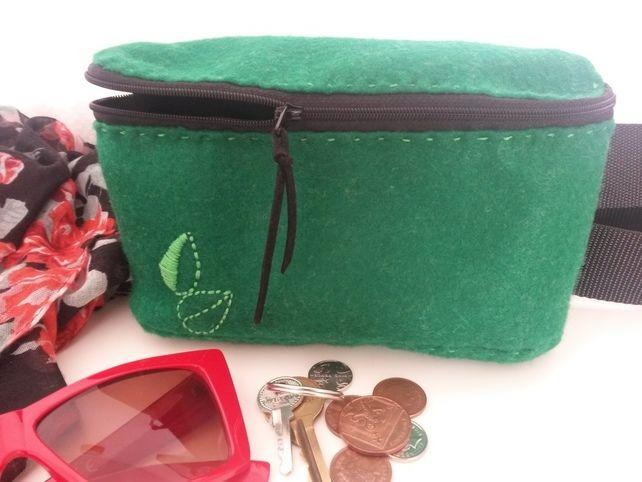 Handmade green felt waist bag, bum bag, belt bag