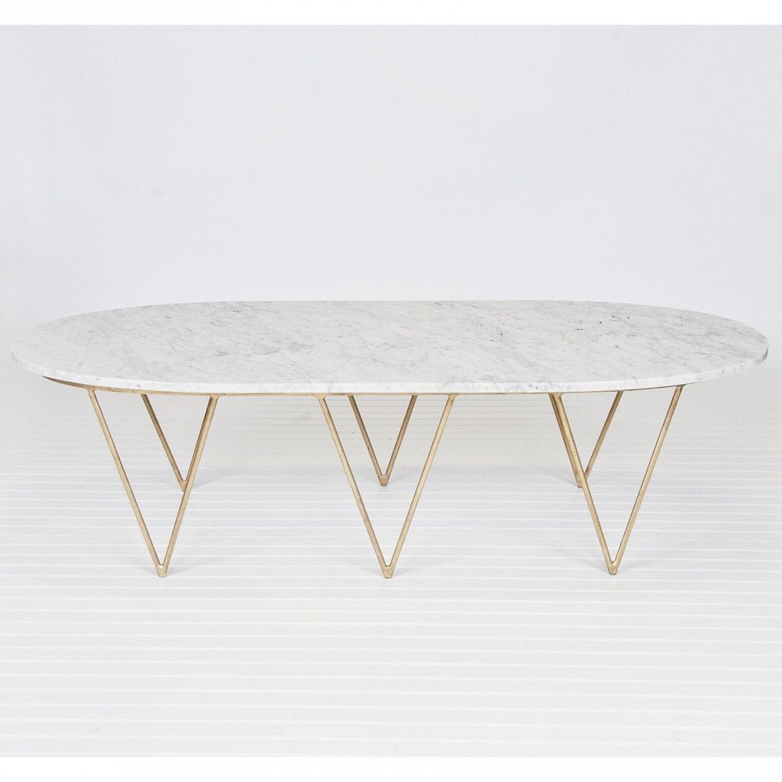 Chic Alight Oval Marble Top Coffee Table With Standard Eased Edge