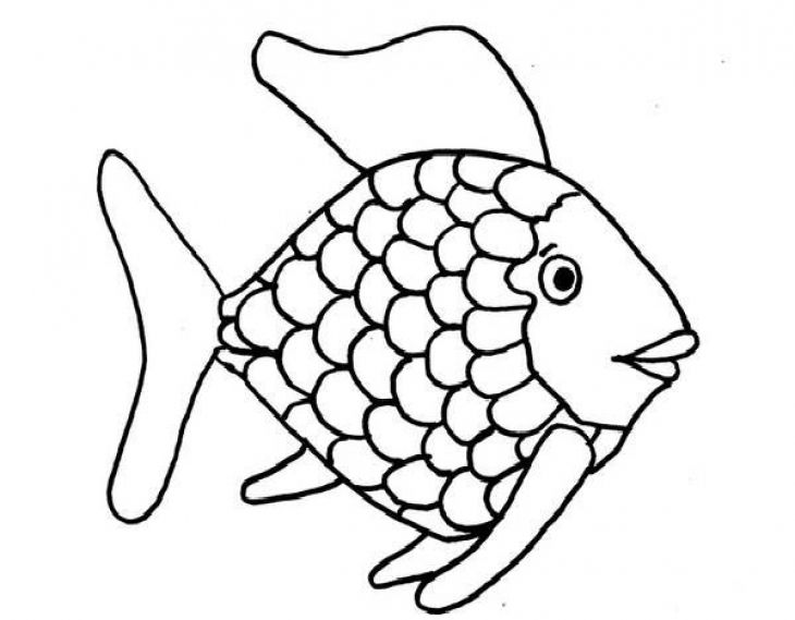 Kids Printable Rainbow Fish Coloring