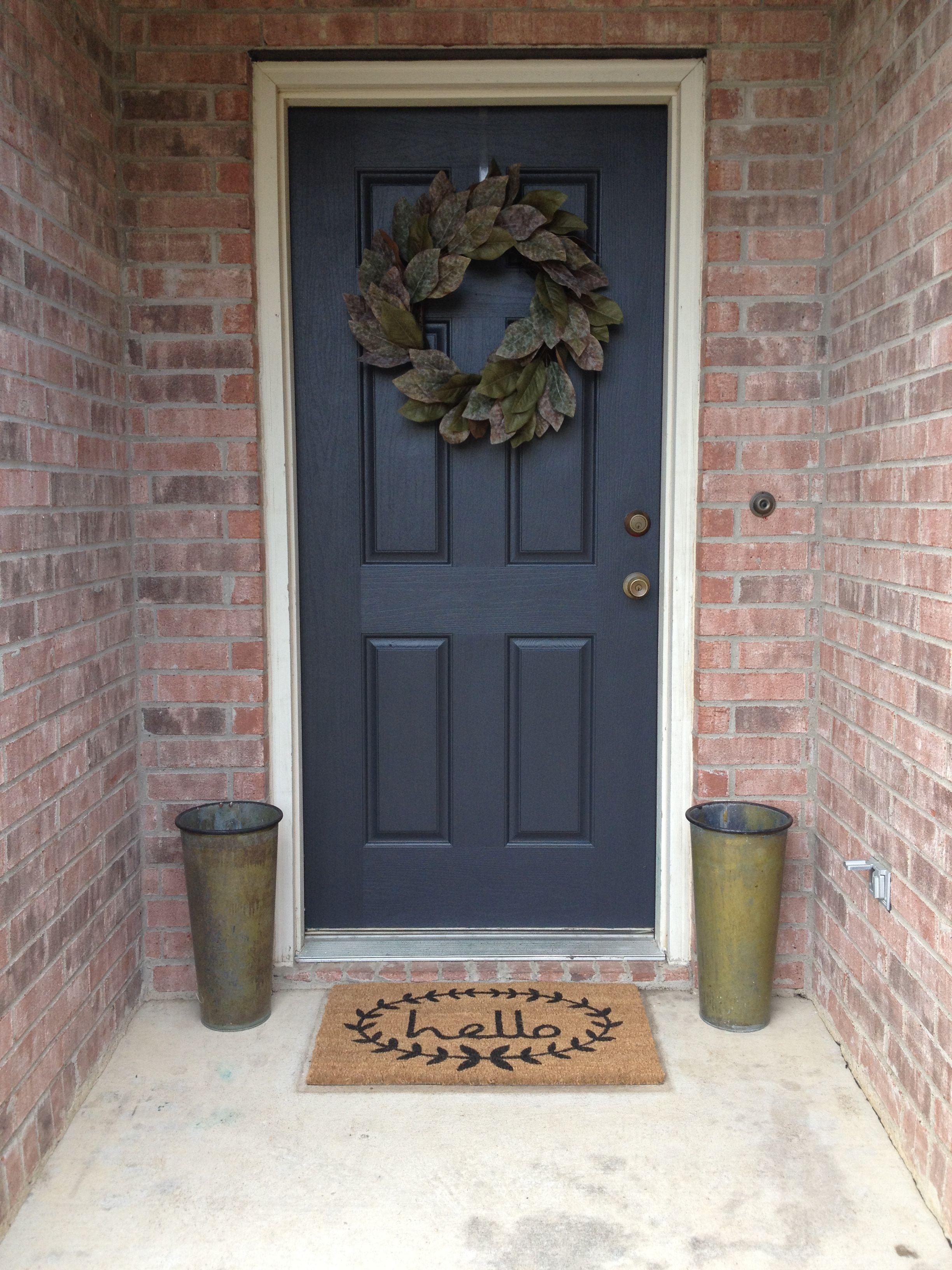 My Updated Front Porch Welcome Mat Joss And Main Door Paint Wrought Iron By Benjamin Moore Flower Buc Painted Front Doors Wrought Iron Paint Painted Doors