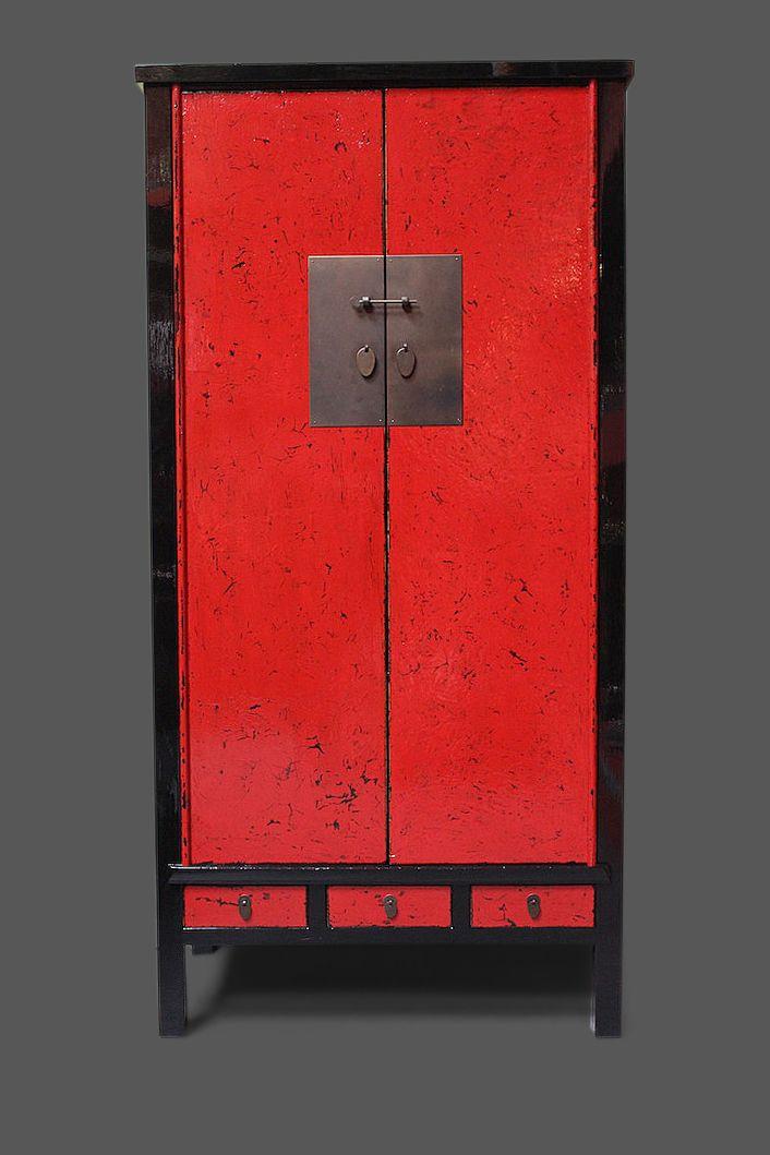 Chinesischer Hochzeitsschrank in rot / schwarz - auch als PC-Schrank ...