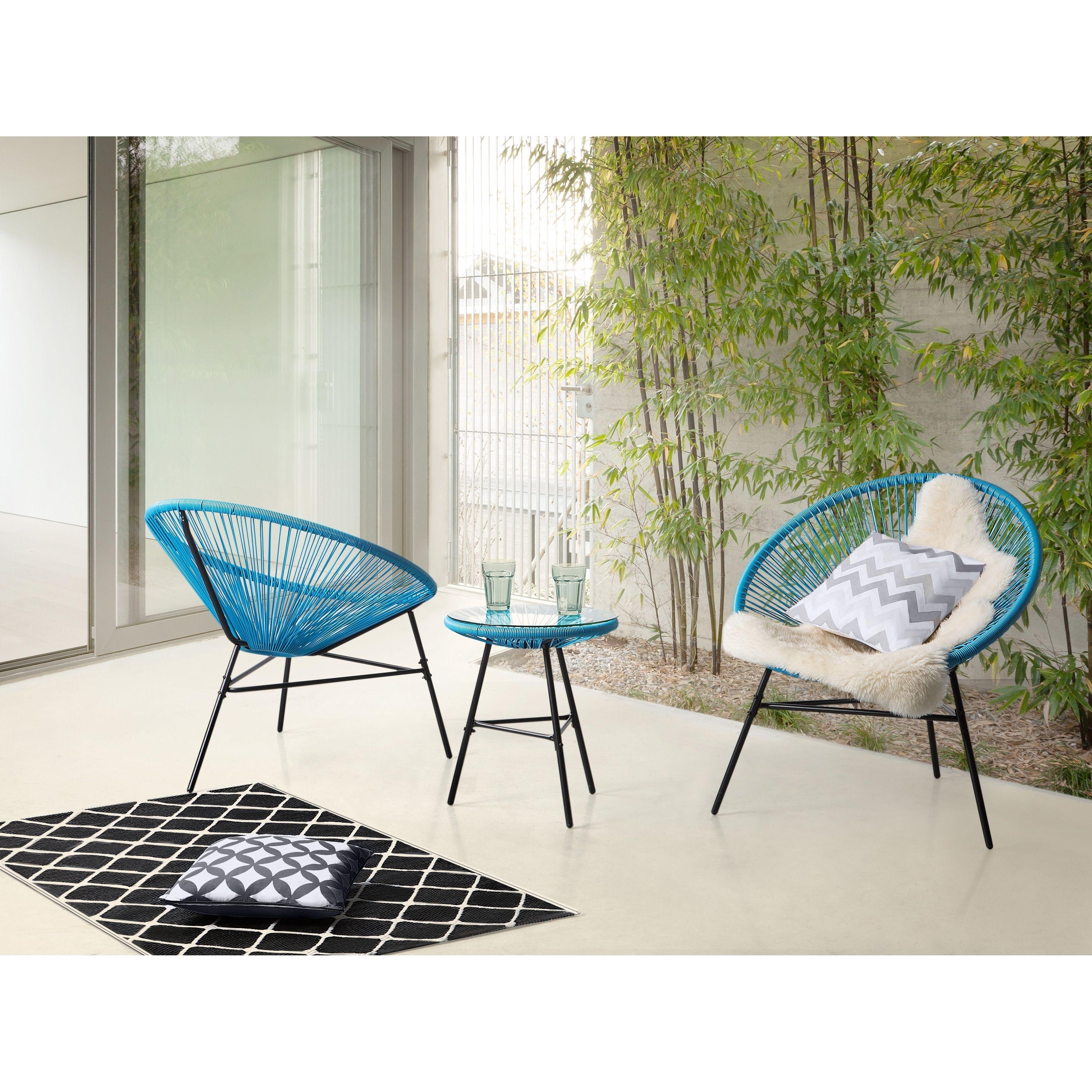 Beliani Patio Bistro Set Blue Acapulco Patio Furniture Synthetic