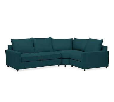 Lovely PB fort Square Arm Upholstered Left Arm 3 Piece Wedge Sectional Knife Edge Polyester Photos - Simple square sectional sofa HD