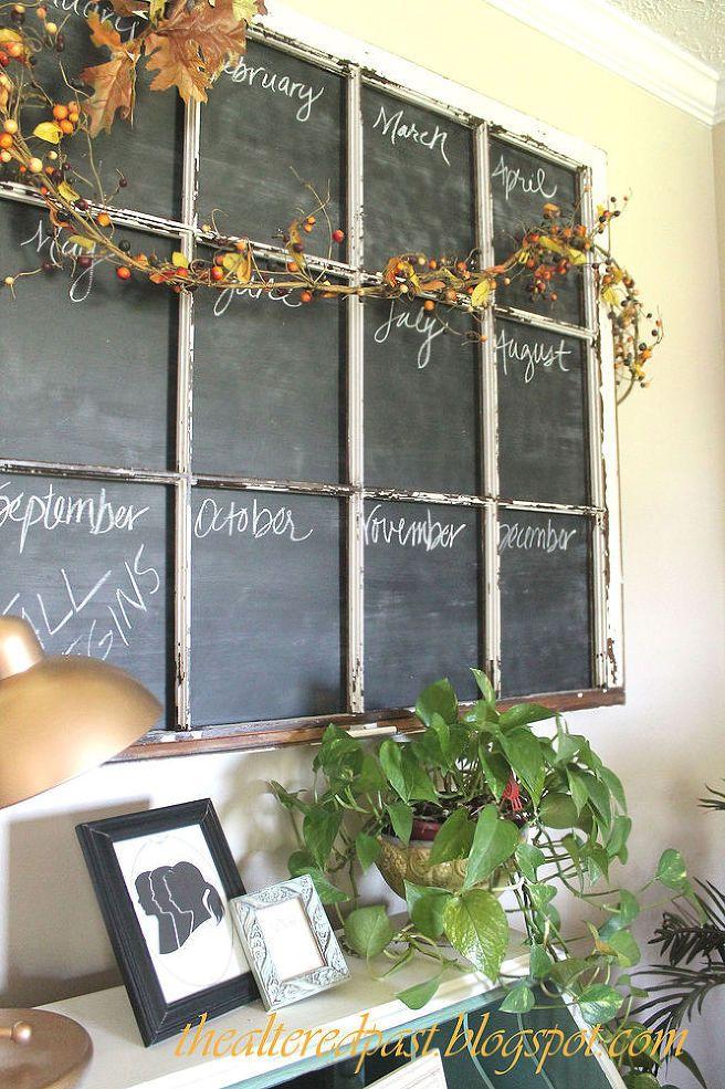 Old Window Frame Repurposed Into Chalkboard Calendar Diy