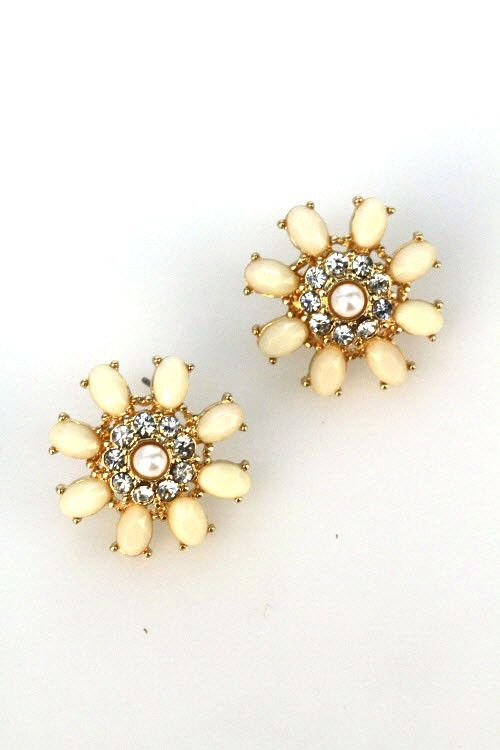 Ivory Dainty Floral Bling Studs