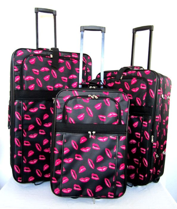 suitcases with red lips | Details about 3Pc Luggage Set Travel Bag ...