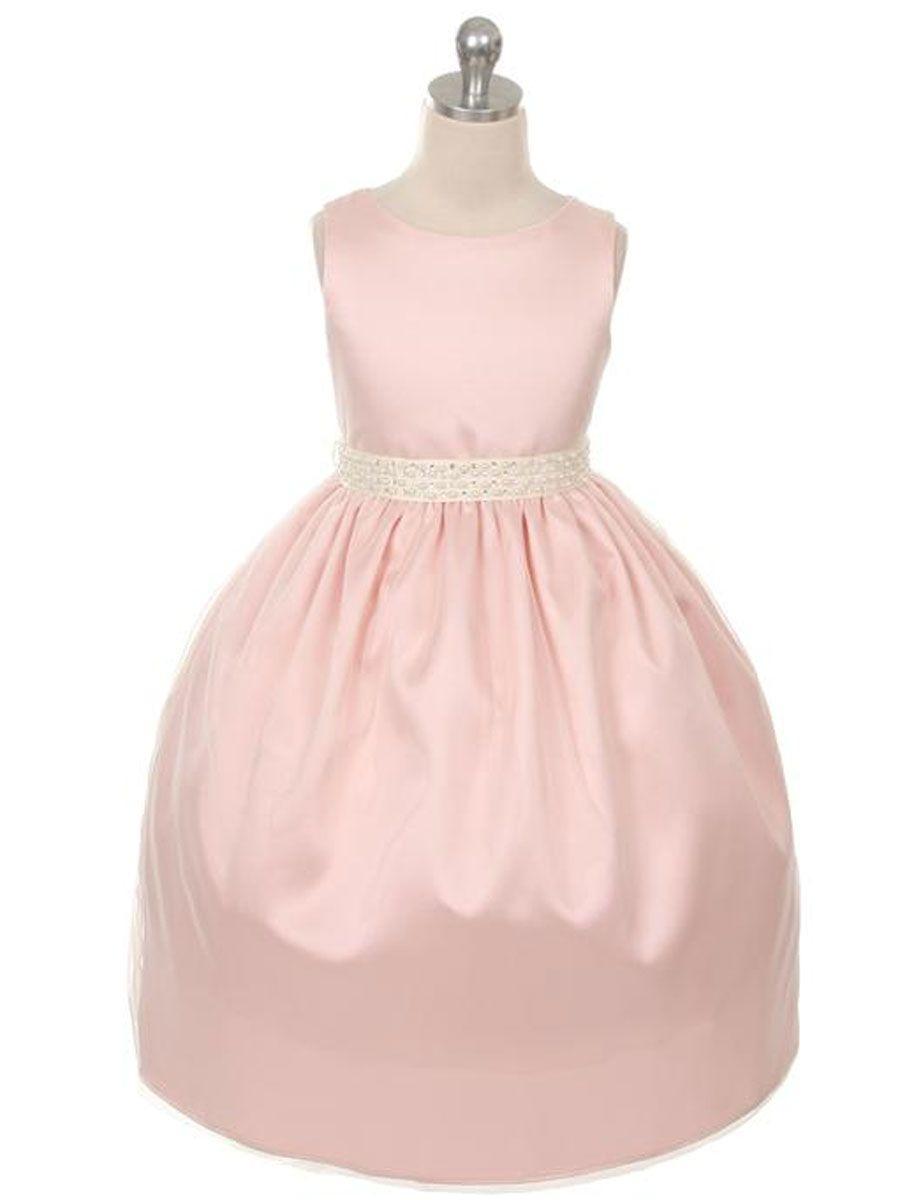 Blush Pink Elegant Charmeuse Flower Girl Dress/ with Navy blue sash ...