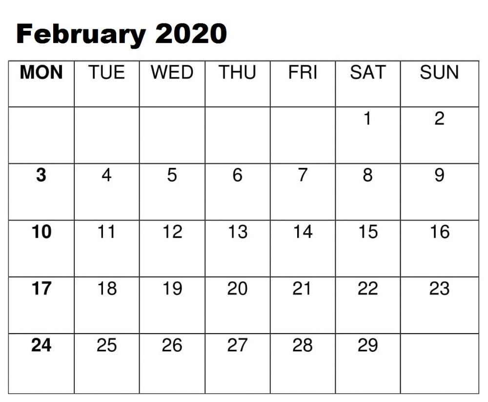 Blank February 2020 Calendar Blank February 2020 Calendar