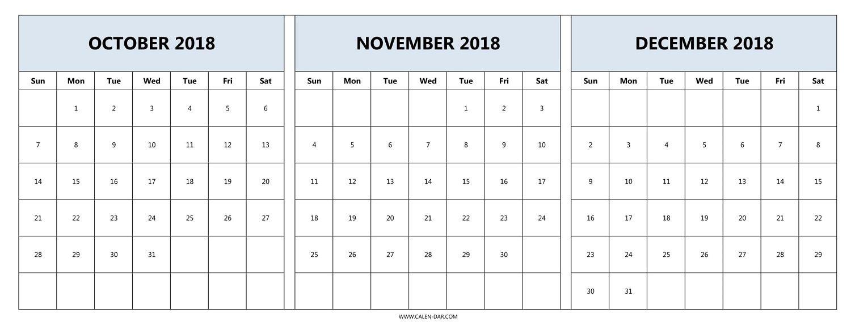 October November December Calendar 2018 December Calendar