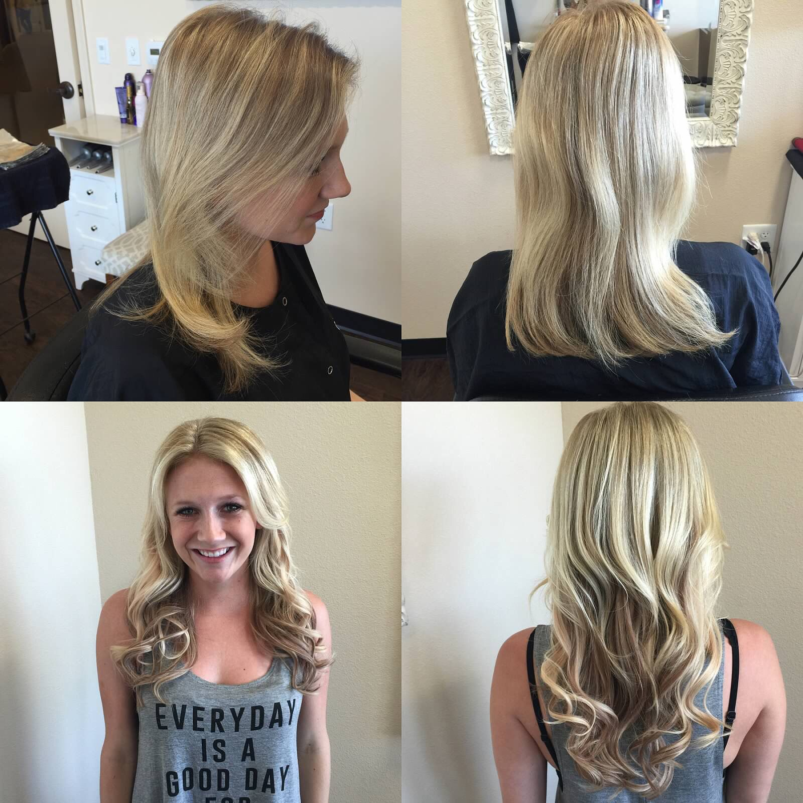 Boom boom!! Before and after Babe tapein extensions