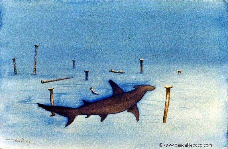 "CHERCHE FORTE TETE- looking for big head -Watercolors on paper by Pascal Lecocq, The Painter of Blue ®, 20.4x31cm, 8""x12"", Lec537a, 1999, priv.coll. Italy © www.pascal-lecocq.com #shark #hammerhead #art #blue #painterofblue #painting #painter #artist"