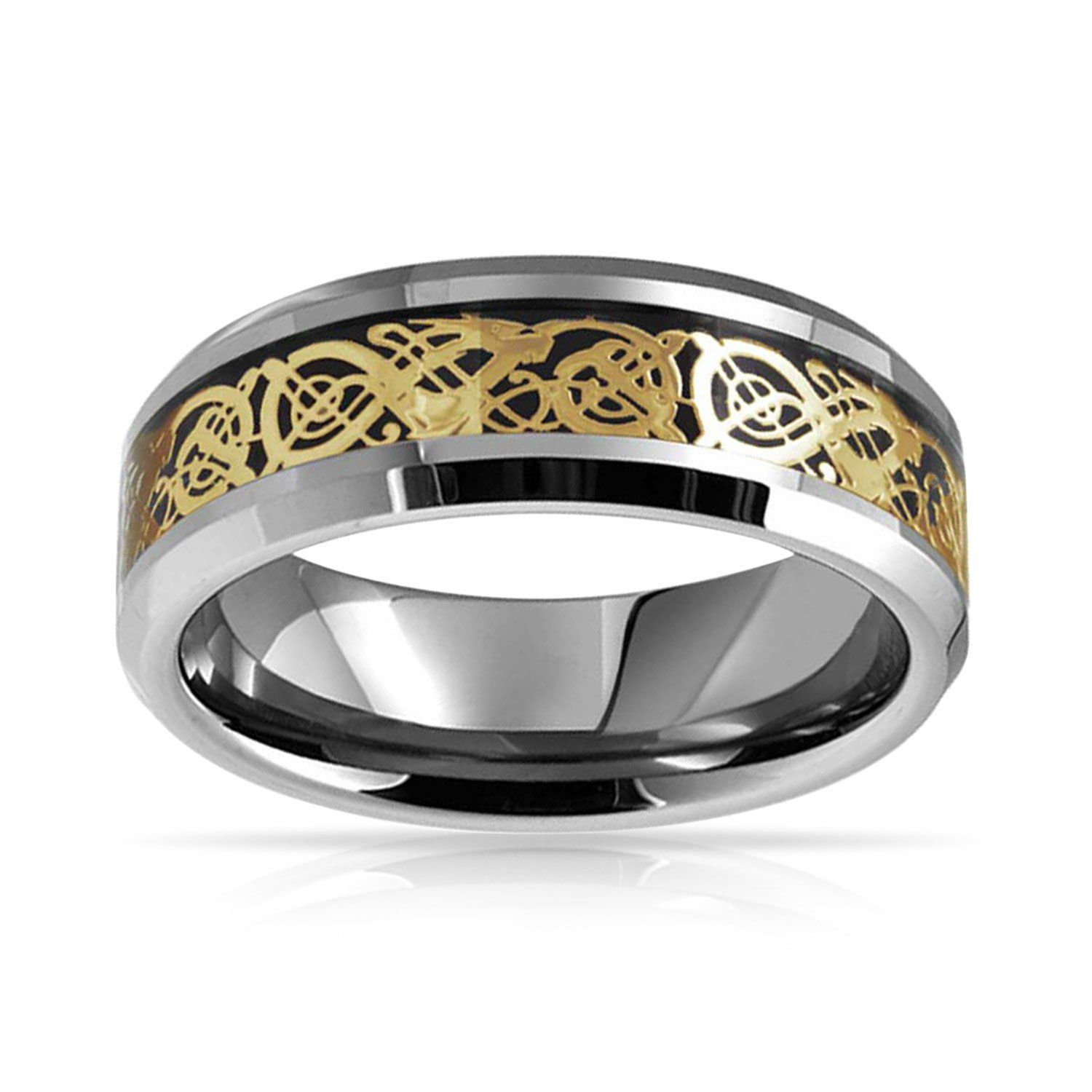 Bling Jewelry Golden Black Silver Two Tone Celtic Knot Dragon Inlay Couples Titanium Wedding Band Rings/ for/ Men for Women 8MM