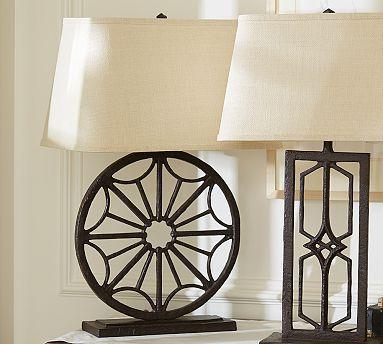 3 Option Gavin Iron Round Table Lamp Base Potterybarn Deroo