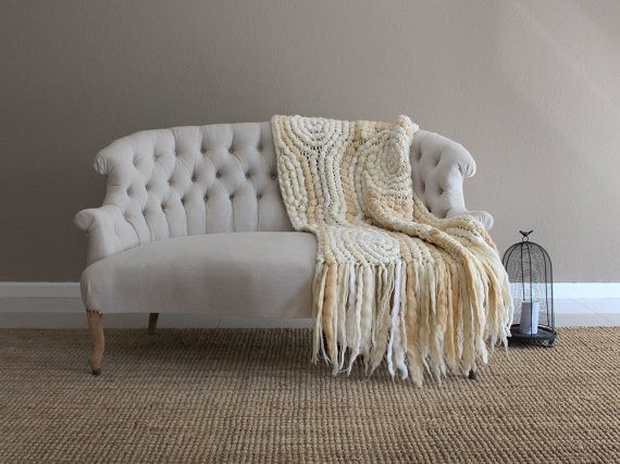 Throw Blankets For Couches Fascinating Knitted Couch Blanket Natural Pure Wool Throw Loom Blanket Knit Decorating Inspiration
