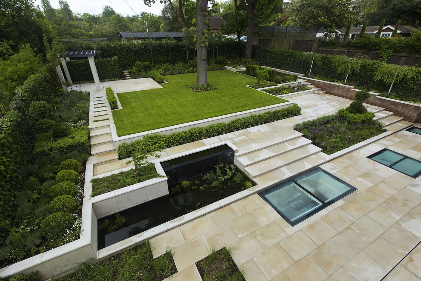 Landscaped gardens landscaped garden contemporary landscaped large garden london with pre cast stone paving led lighting and irrigation workwithnaturefo