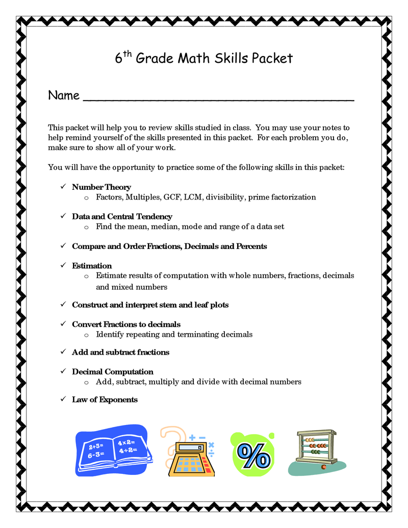 6th Grade Math Skills Packet   BetterLesson   Sixth grade math [ 1035 x 800 Pixel ]