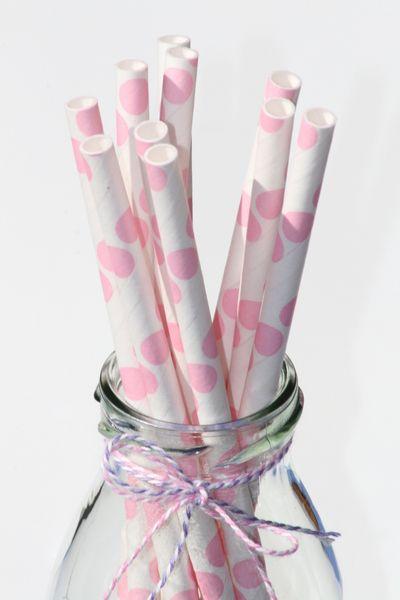 Papierstrohhalme USA Punkte rosa Geburtstag - Feiern von verspieltes-de - Dekoration - Kindergeburtstag - DaWanda