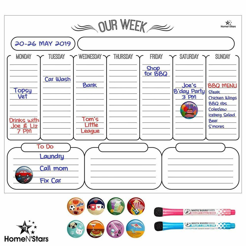 Sponsored Ebay Weekly Whiteboard Calendar Magnetic Dry Erase