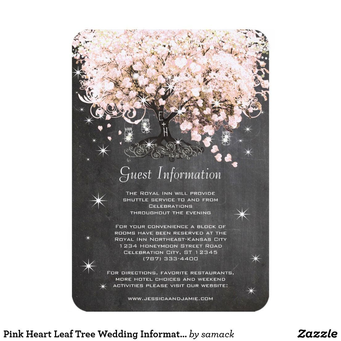 Pink Heart Leaf Tree Wedding Information Card Romantic Rustic Under