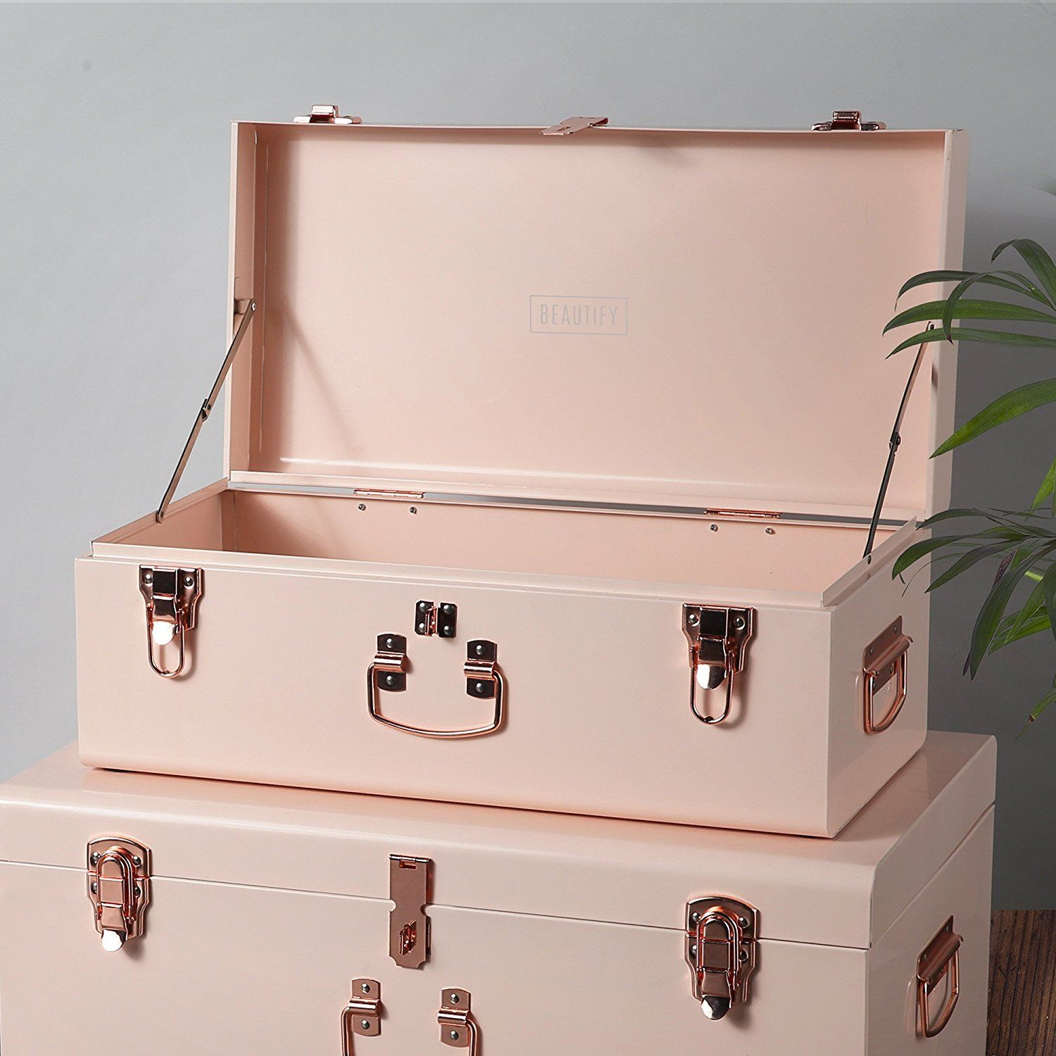 Beautify Blush Pink Vintage Style Steel Storage Trunk set with Rose