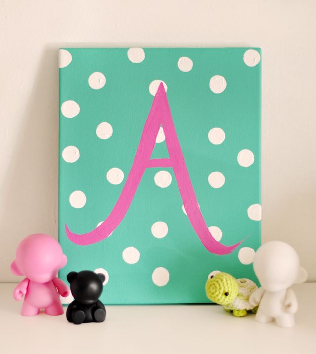 diy gift idea | custom painted initial canvas for baby | love