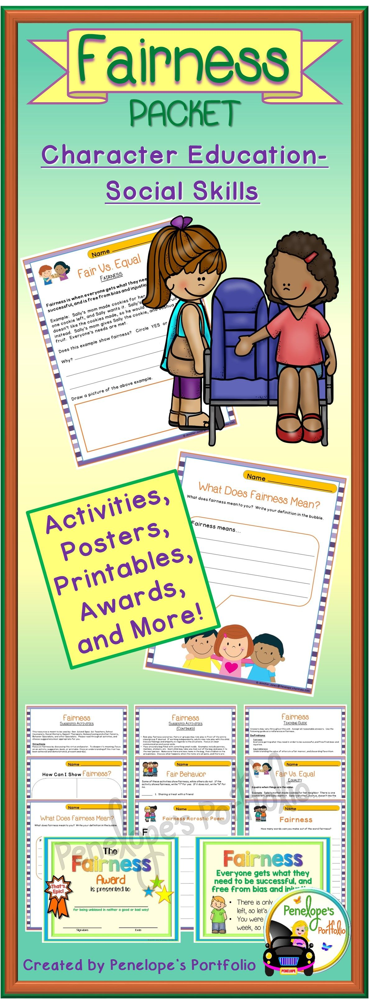 Character Education Fairness Activities And Lessons