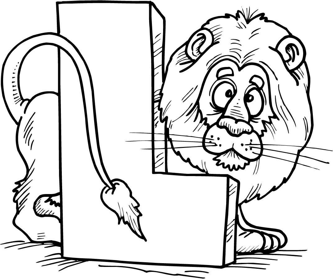 Colouring Page Of Letter L With A Lion Lion Coloring Pages