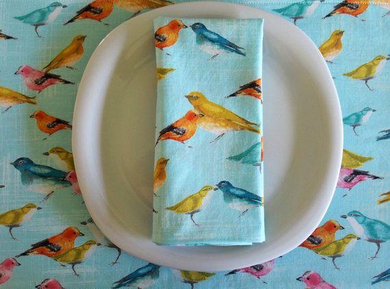 Bird Cloth Napkins 4 in Blue  Flutter by ItsHandmadebyArianne