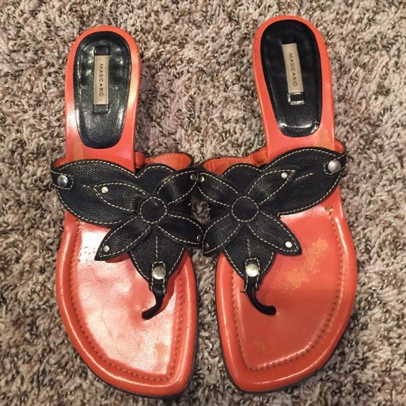 Mascaro sandals Mascaro sandals- orange sole, black flower upper, kitten heels Mascaro Shoes Sandals