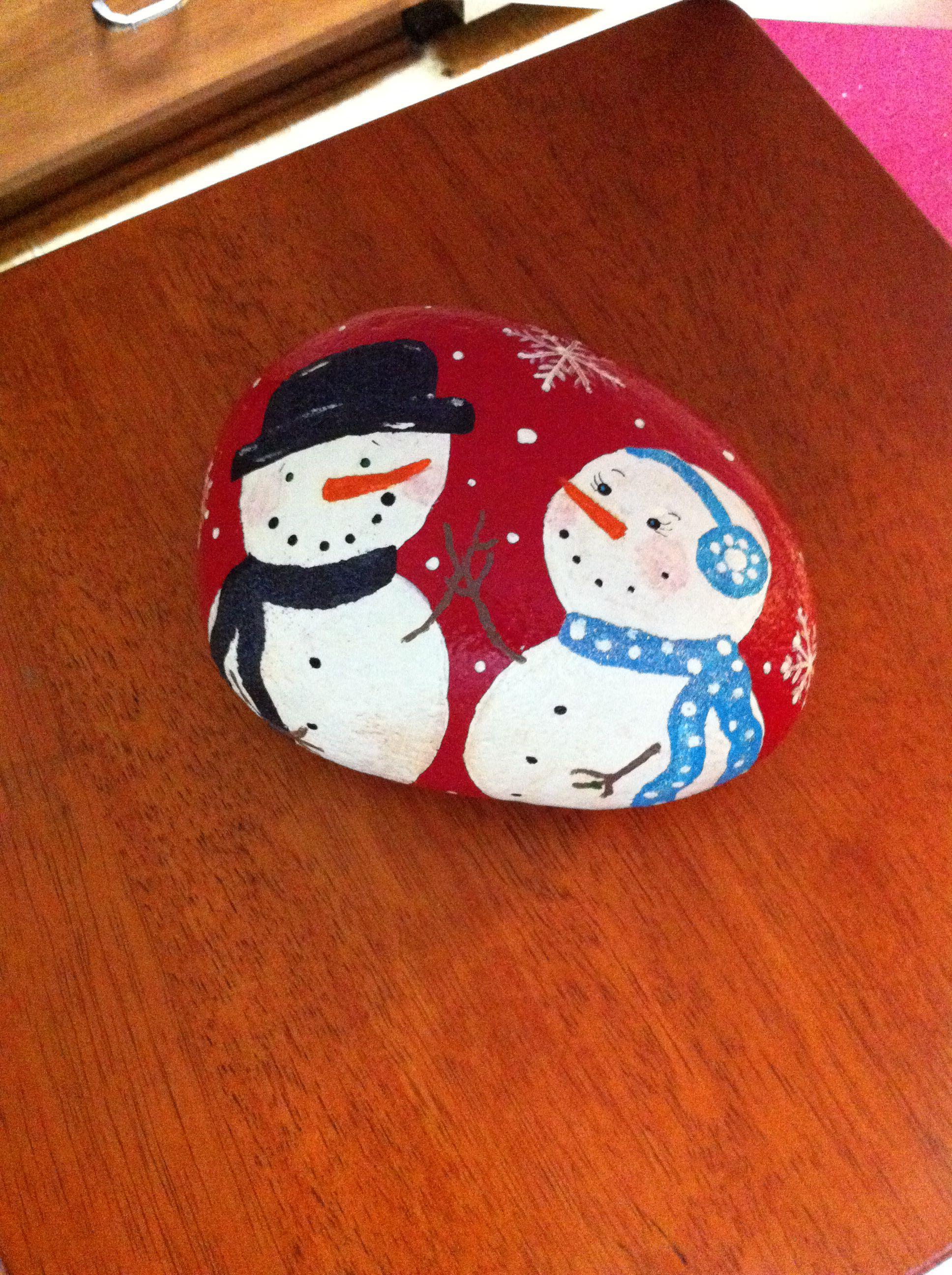 Snowmen painted rock Rocks Pinterest