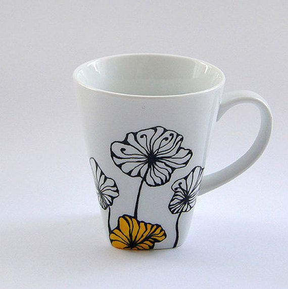 Hand painted mug with flowery design coffee tea mug mother s day