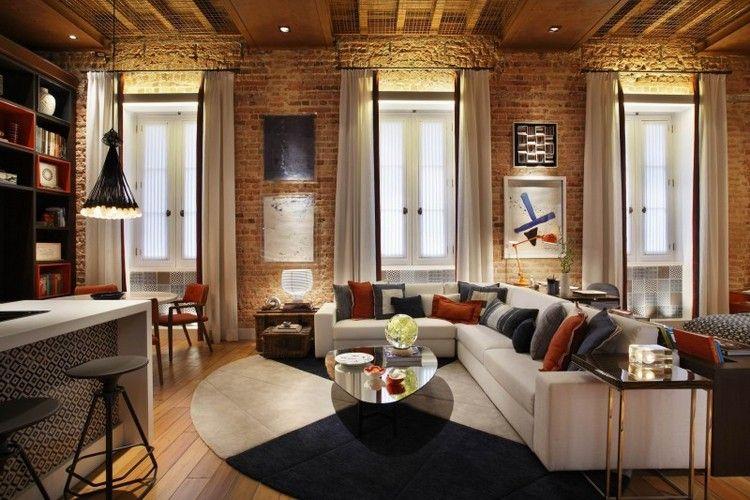 design-wohnzimmer-unbehandelte-ziegelwaende-ecksofa-creme-grau ... - Led Design Wohnzimmer