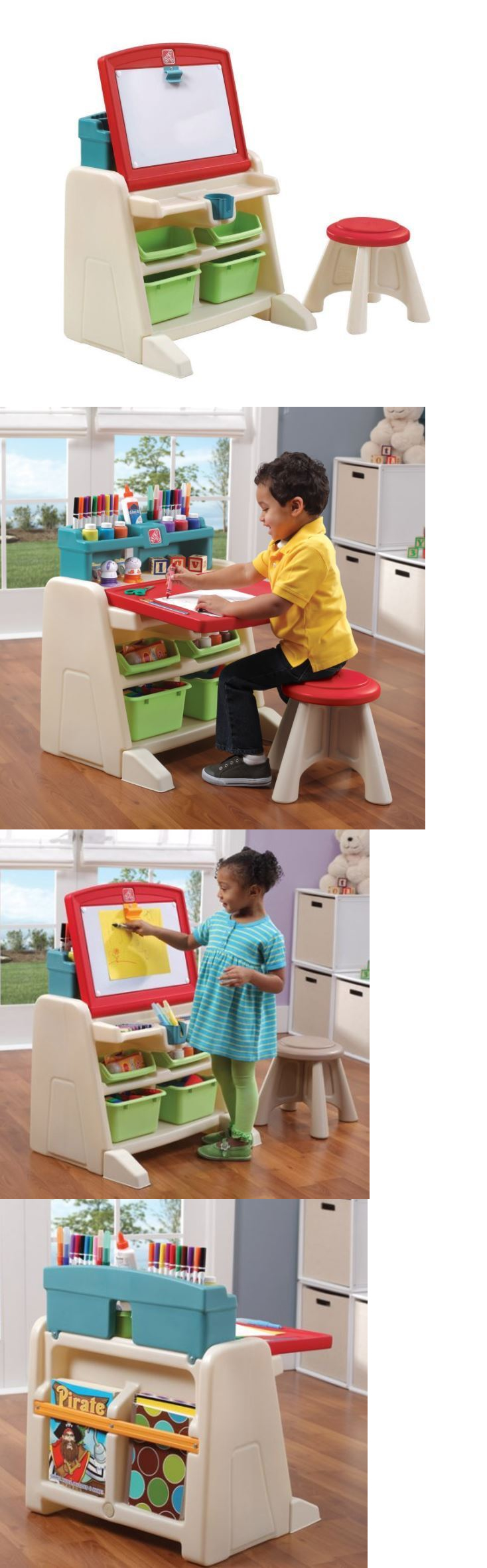 Step 2 52344: Step2 Flip And Doodle Easel Desk With Kids Stool Cupholder  Storage Bin