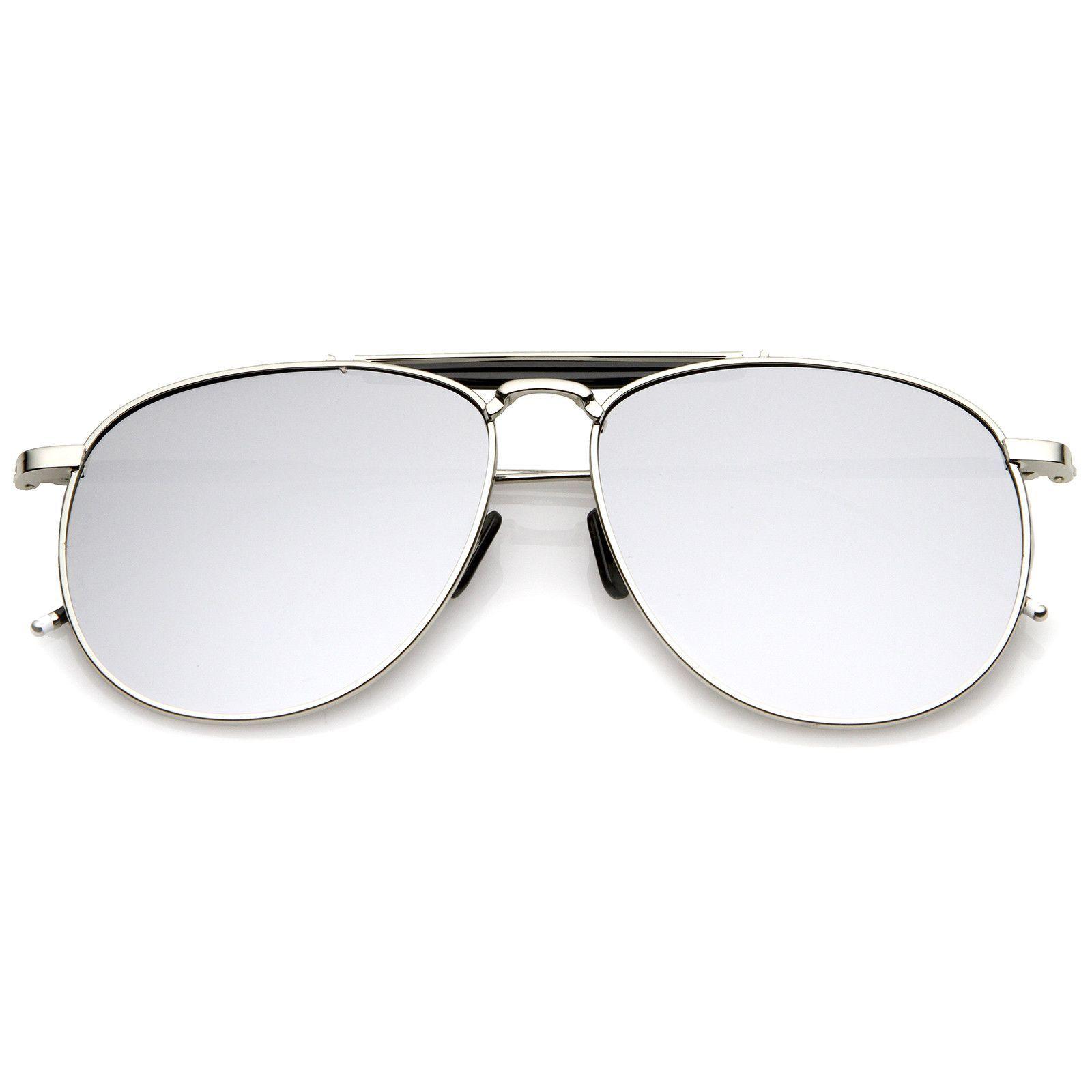 f216159a51a Oversize Metal Double Nose Bridge Slim Temple Colored Mirror Super Flat  Lens Aviator Sunglasses 57mm