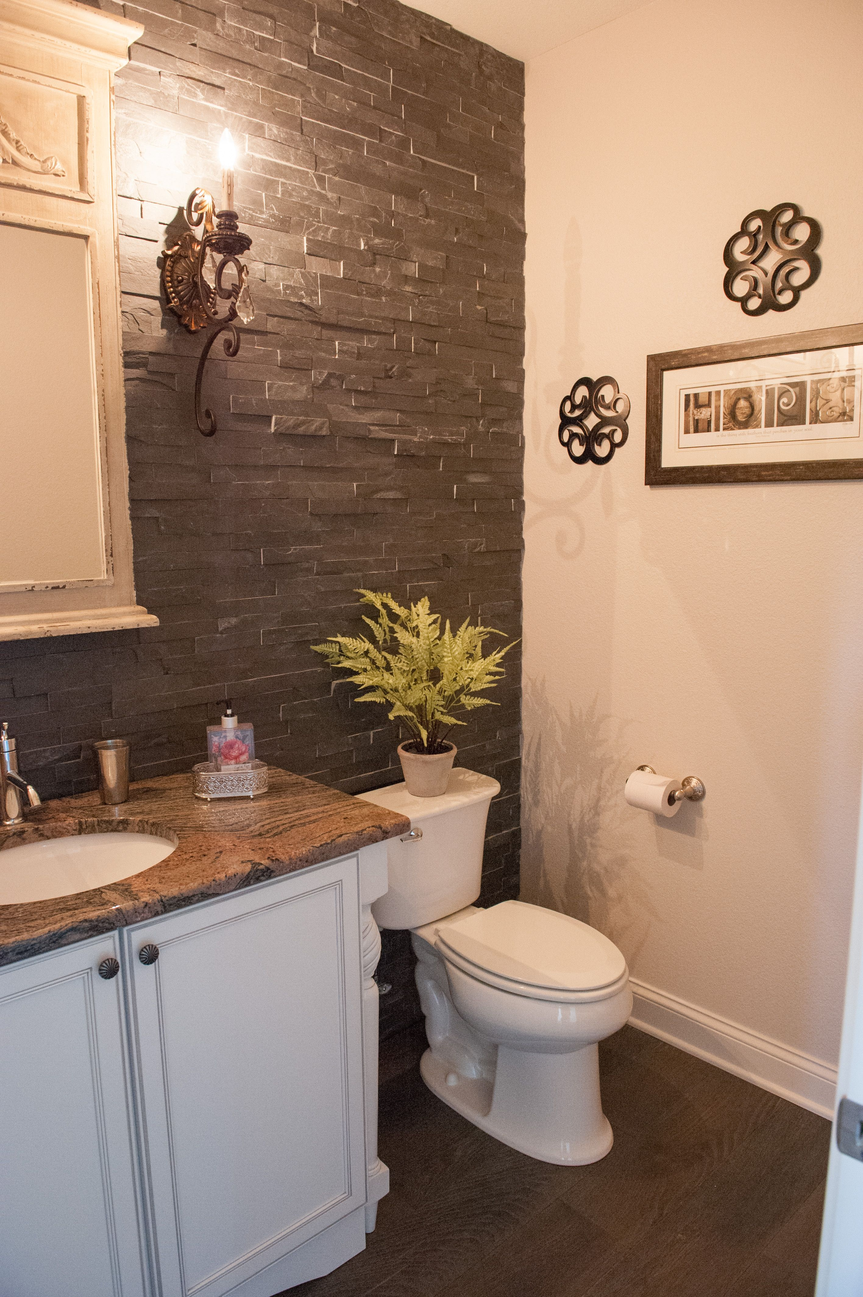 Powder Room With Beautiful Grey Stone Wall Featured In The