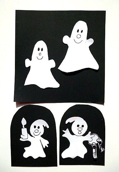 Gespenster und Geisterschloss fürs Fenster Halloween basteln