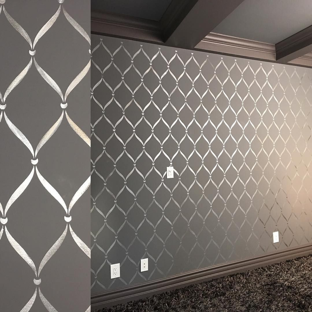 Modern masters silver metallic paint stenciled on media room walls modern masters silver metallic paint stenciled on media room walls with a royal design studio stencil amipublicfo Image collections