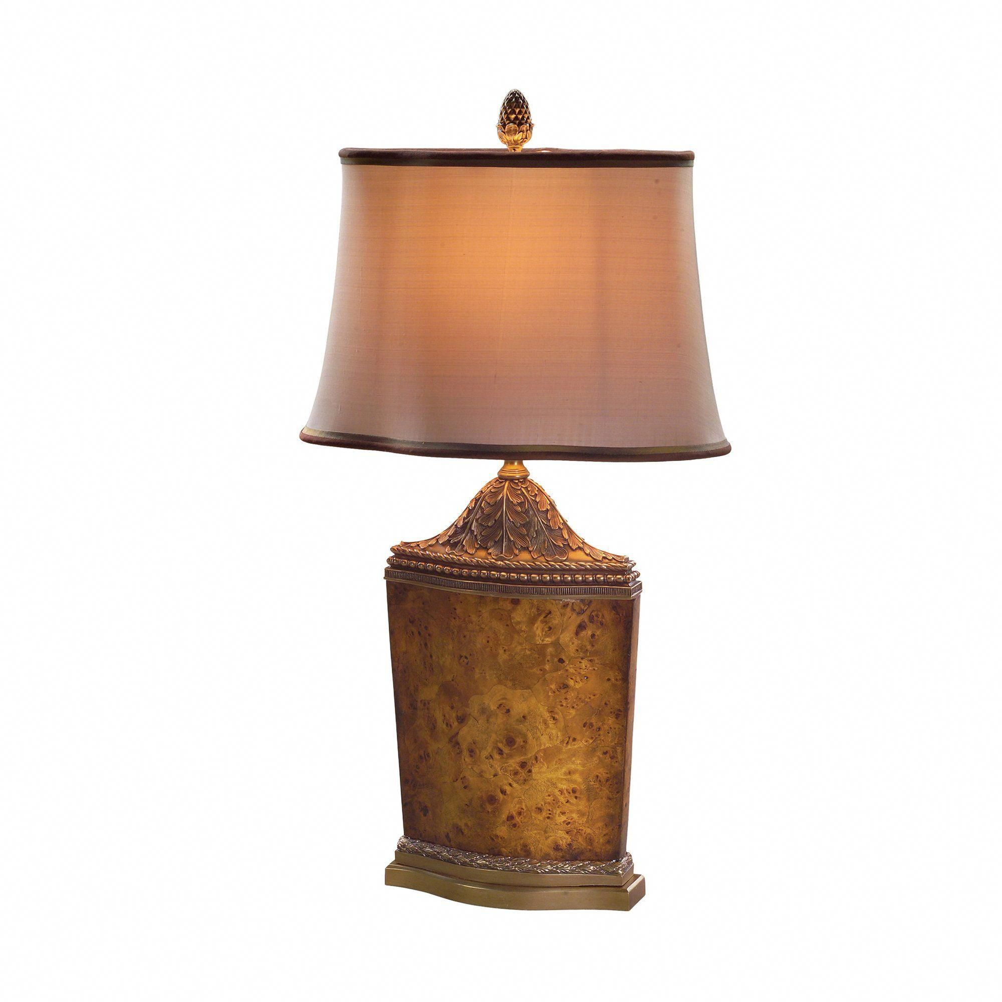 Brass and Poplar Burl Table Lamp, French Empire ...