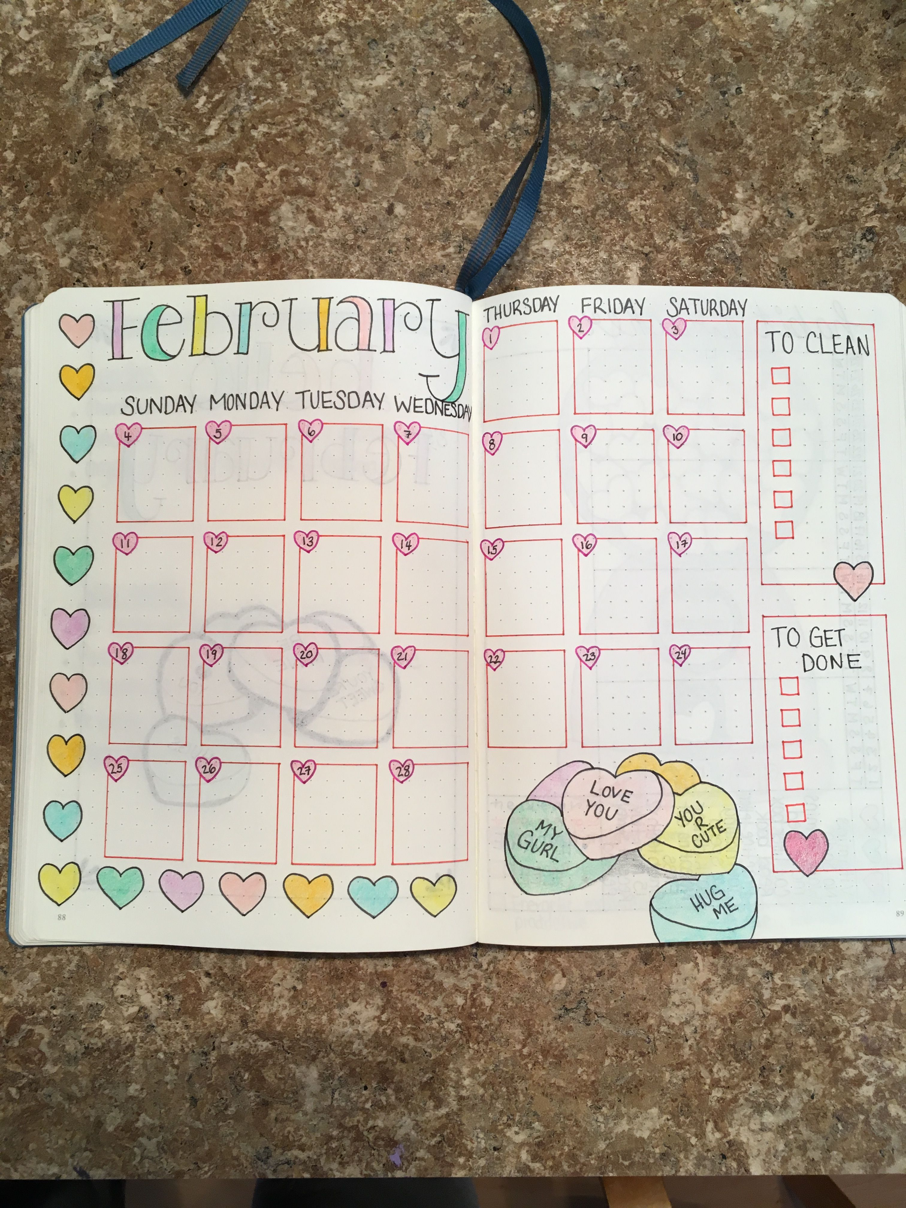 Feb Calendar February Bullet Journal Bullet Journal Inspiration