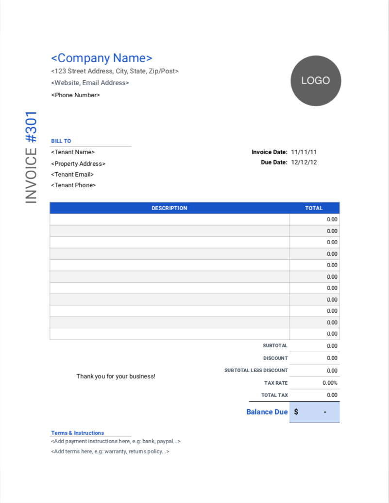 Rental Invoice Templates Free Download Invoice Simple With Regard To Invoice Template For Rent Invoice Template Receipt Template Business Template