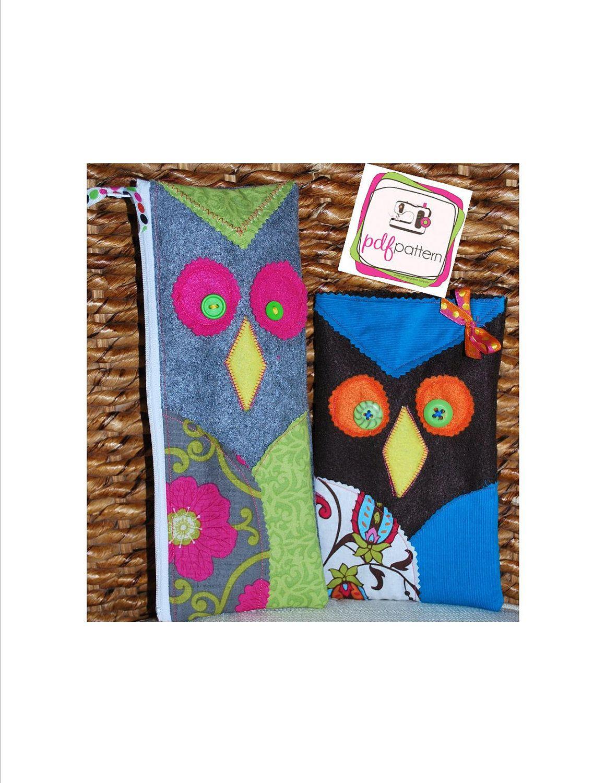 pdf Owl Pencil Case Kid's Sewing Pattern - 2 Versions Short & Tall, velcro or zipper enclosure. $7.00, via Etsy.