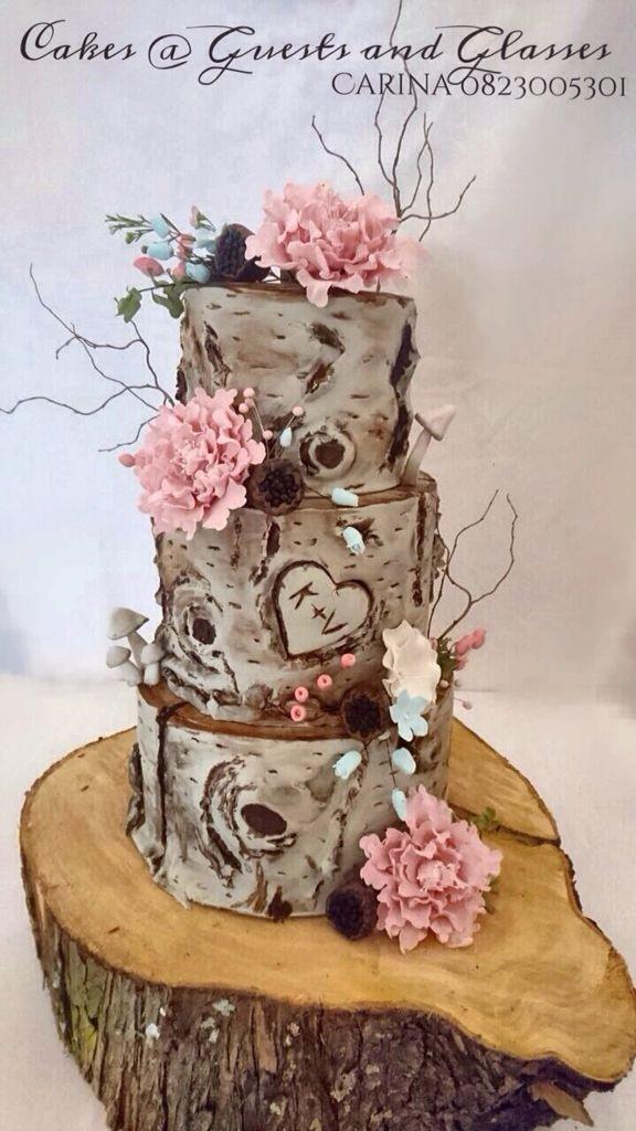 Paper Bark Tree Stump Wedding Cake Dark Chocolate