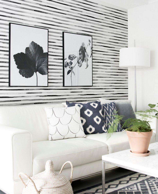 Watercolor Stripes Wallpaper Peel And Stick Interior Monokrom Wallpaper Hitam Dan Putih Wallpaper Putih