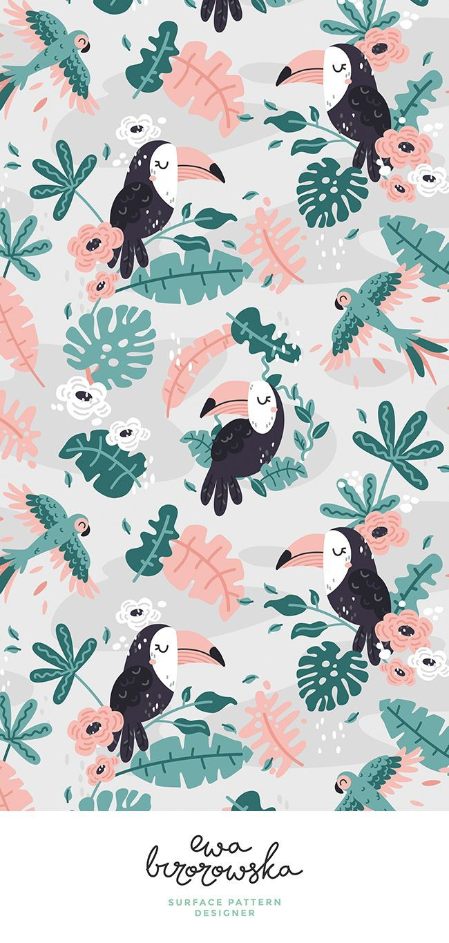 Tropical Toucans - gray and mint